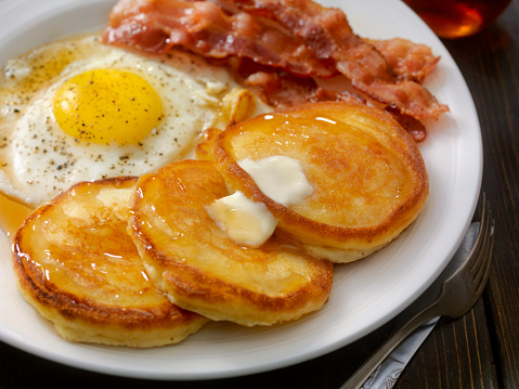 Grand Slam Breakfast - Pancakes, Bacon and Eggs 872530882