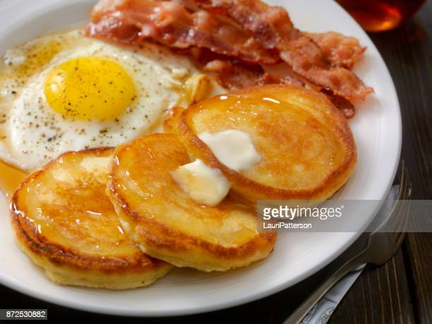 grand slam breakfast - pancakes, bacon and eggs - pancake stock pictures, royalty-free photos & images