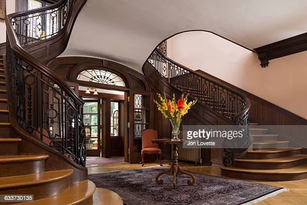grand staircase in grand mansion - stately home stock pictures, royalty-free photos & images