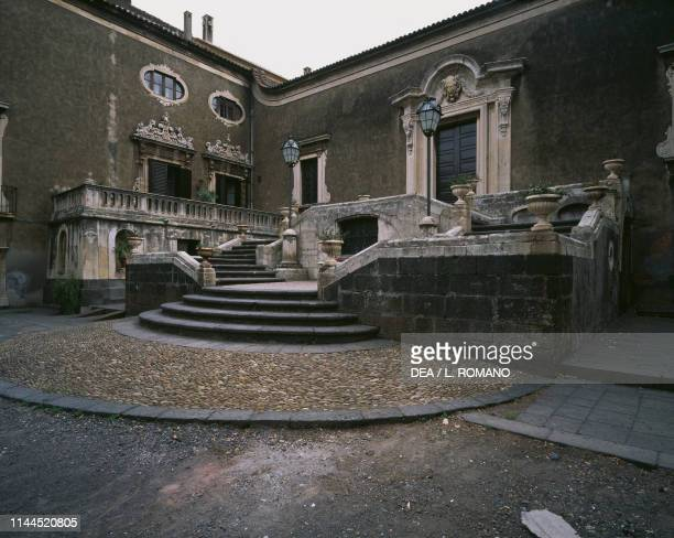 Grand steps in the main courtyard Biscari palace Catania Sicily Italy 18th century