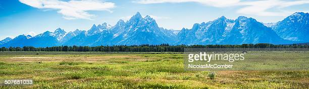 grand teton mountain range panoramic view - jackson hole stock pictures, royalty-free photos & images