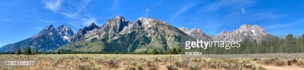 米国ワイオミング州グランドティトン国立公園 - パノラマビュー - ティトン山脈 ストックフォトと画像