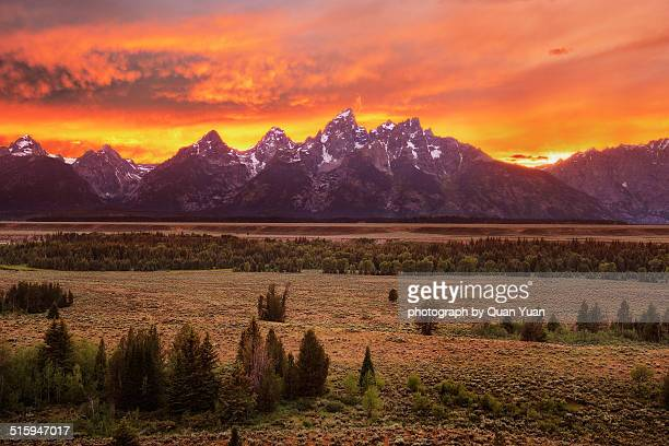 grand teton viewpoint sunset - yuan quan stock pictures, royalty-free photos & images