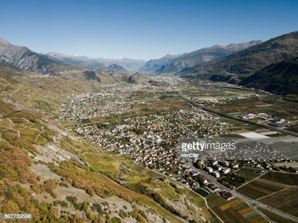 grand tour of wine road in switzerland - sion switzerland stock pictures, royalty-free photos & images