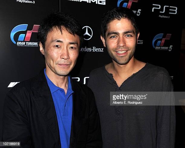 Grand Turismo 5 producer Kazunori Yamauchi and actor Adrian Grenier help MercedesBenz celebrate PlayStation 3 Gran Turismo 5 featuring the SLS AMG at...