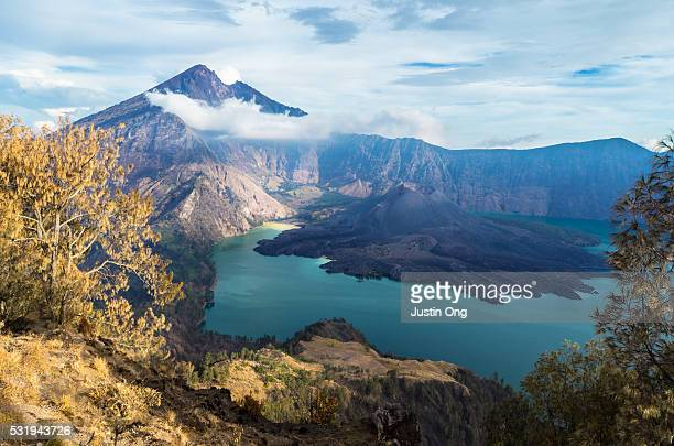 Grand View from camp one of Lake Segara Anak surrounded by Mount Rinjani