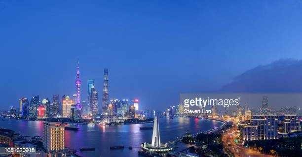 grand view of lujiazui at night in shanghai - huangpu river stock pictures, royalty-free photos & images