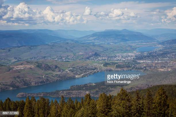 A grand view of the North Okanagan Valley including Coldstream, Vernon, Kalamalka Lake and Swan Lake, British Columbia, Canada