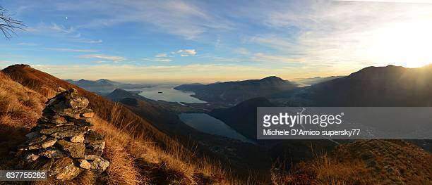 Grand view on Lago Maggiore at sunset