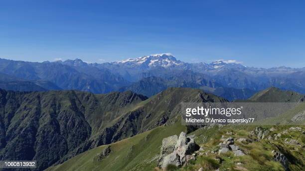 grand view on monte rosa and the valsesia mountains - ビエラ ストックフォトと画像