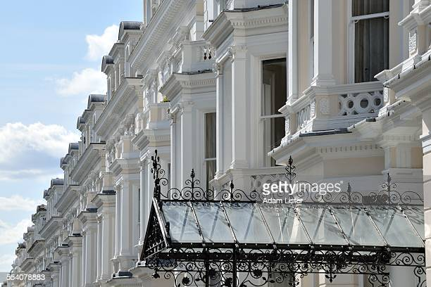 grand white terraced houses - holland park stock pictures, royalty-free photos & images