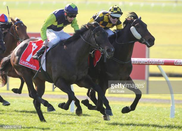 Red Choux's ridden by Brad Rawiller wins the Blue Star Print Group Handicap at Ladbrokes Park Lakeside Racecourse on July 18 2018 in Springvale...