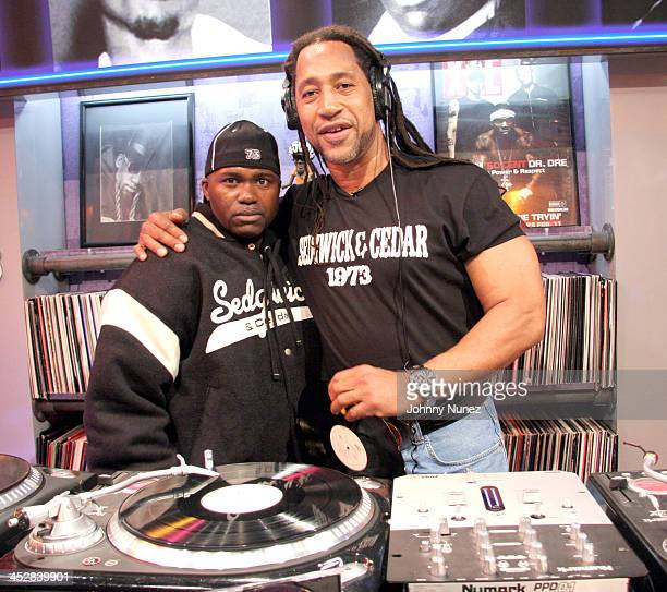Grand Wizzard Theodore and DJ Kool Herc during BET's Rap City December 6 2005 at CBS Studios in New York City New York United States