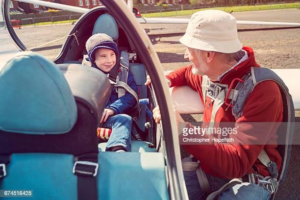 Grandad and grandson before glider flight