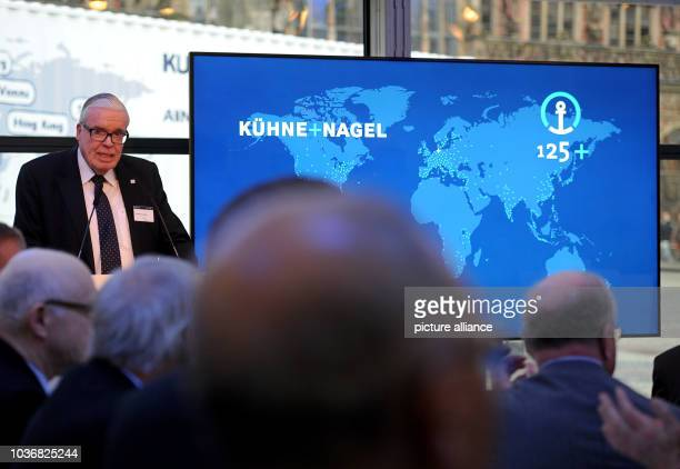 Grandchild of company co-founder and majority shareholder of logistics company Kuehne+Nagel Klaus-Michael Nagel gestures during the jubilee event for...