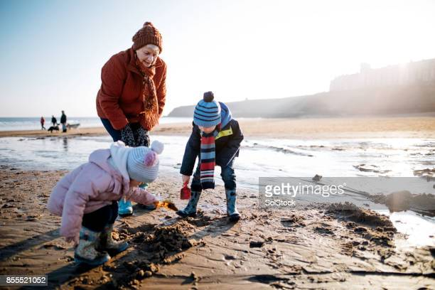 grandchildren having fun on the beach with their grandmother - coastline stock photos and pictures