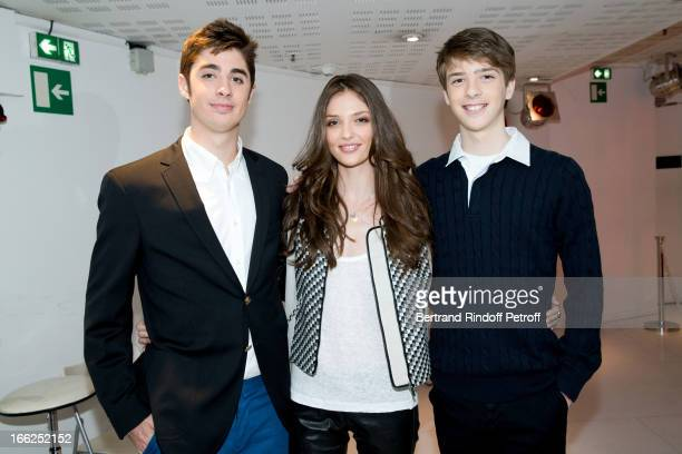 Grandchildren of Jean-Paul Belmondo: Christopher, Annabel and Nicolas Waters attend 'Vivement Dimanche' French TV Show, for the 80th anniversary of...