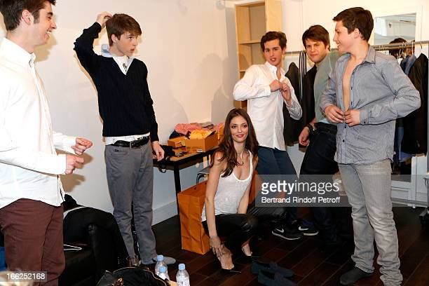 Grandchildren of Jean-Paul Belmondo: Christopher, Nicolas and Annabel Waters with Victor, Alessandro and Giacomo Belmondo attend 'Vivement Dimanche'...