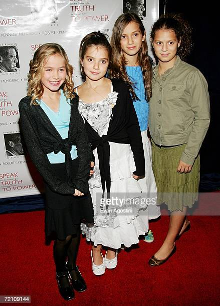RFK grandchildren Saoirse Kennedy Hill Michaela Kennedy Cuomo Mariah Kennedy Cuomo and Cara Kennedy Cuomo attend the Speak Truth To Power Memorial...