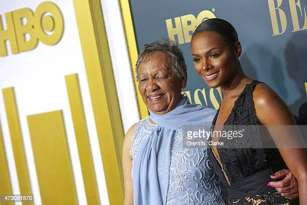 Granddaughter of Bessie Smith Beverly Ann Clarke and actress Tika Sumpter arrive for the New York screening of 'Bessie' held at The Museum of Modern...