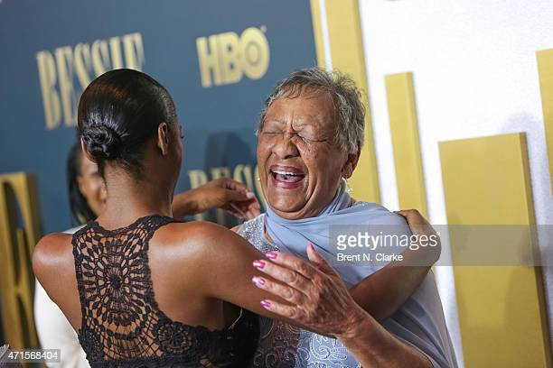 Granddaughter of Bessie Smith Beverly Ann Clarke is greeted by actress Tika Sumpter at the New York screening of 'Bessie' held at The Museum of...