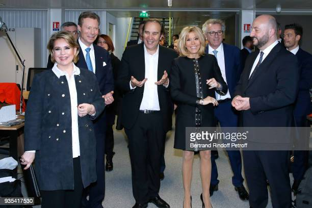RR GrandDuc Henri and GrandeDuchesse Maria Teresa of Luxembourg CEO at Iliad Fondator of the 'Station F' Xavier Niel Brigitte Macron Minister of...