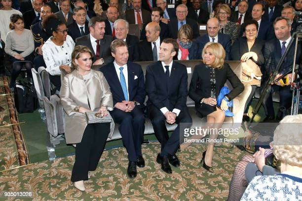 RR GrandDuc Henri and GrandeDuchesse Maria Teresa of Luxembourg with French President Emmanuel Macron and his wife Brigitte Macron attend the French...