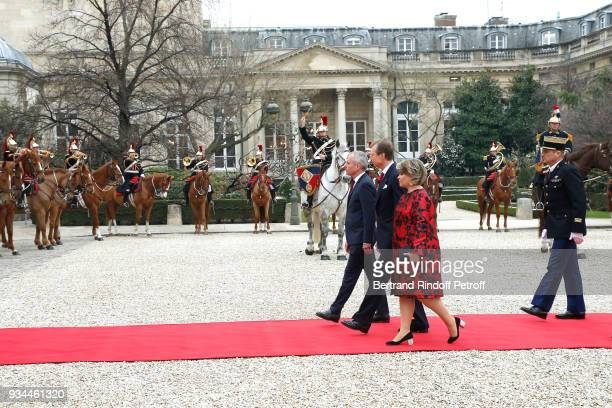 RR GrandDuc Henri GrandeDuchesse Maria Teresa of Luxembourg are welcomed by the President of the Assemblee Nationale Francois de Rugy during the...