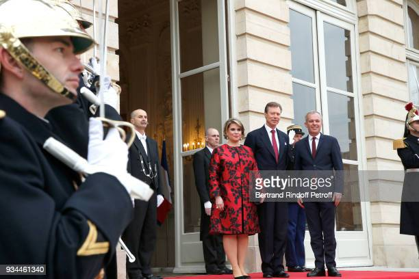 RR GrandDuc Henri GrandeDuchesse Maria Teresa of Luxembourg are welcomed by the President of the 'Assemblee Nationale' Francois de Rugy during the...