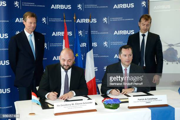 Grand-Duc Henri of Luxembourg and President Commercial Aircraft at Airbus, Guillaume Faury attend Deputy Prime Minister and Minister of the Economy...