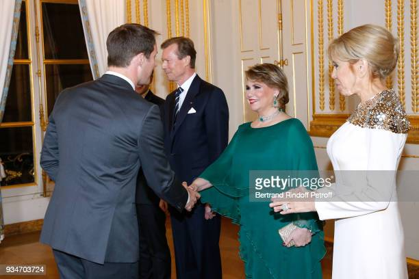 RR GrandDuc Henri of Luxembourg GrandeDuchesse Maria Teresa of Luxembourg and Brigitte Macron with astraunot Thomas Pesquet attend the State Visit in...
