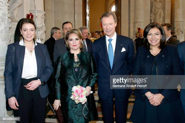GrandDuc Henri of Luxembourg GrandeDuchesse Maria Teresa of Luxembourg their daughter HRH Princess Alexandra of Luxembourg and Mayor of Paris Anne...