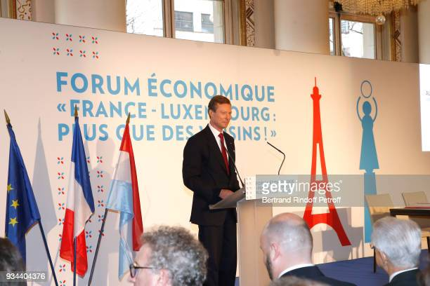 RR GrandDuc Henri of Luxembourg makes a speach during the FranceLuxembourg Economic Forum during the GrandDuc Henri and GrandeDuchesse Maria Teresa...