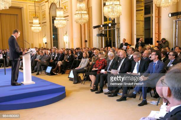 RR GrandDuc Henri of Luxembourg makes a speach in front of GrandeDuchesse Maria Teresa of Luxembourg President of the ParisÎledeFrance Chamber of...