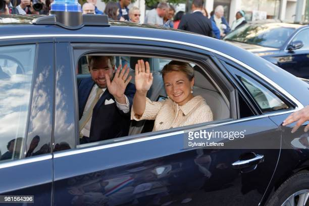 Grand-Duc Heritier Guillaume and Grande-Duchesse Heritiere Stephanie of Luxembourg visit Esch-sur-Alzette for National Day on June 22, 2018 in...