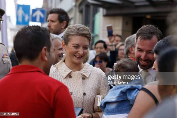 GrandDuc Heritier Guillaume and GrandeDuchesse Heritiere Stephanie of Luxembourg visit EschsurAlzette for National Day on June 22 2018 in Luxembourg...