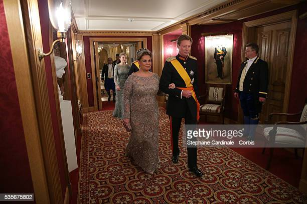 Grand-Duchess Maria Teresa of Luxembourg and Grand-Duke Henri of Luxembourg attend the Gala dinner for the wedding of Prince Guillaume of Luxembourg...