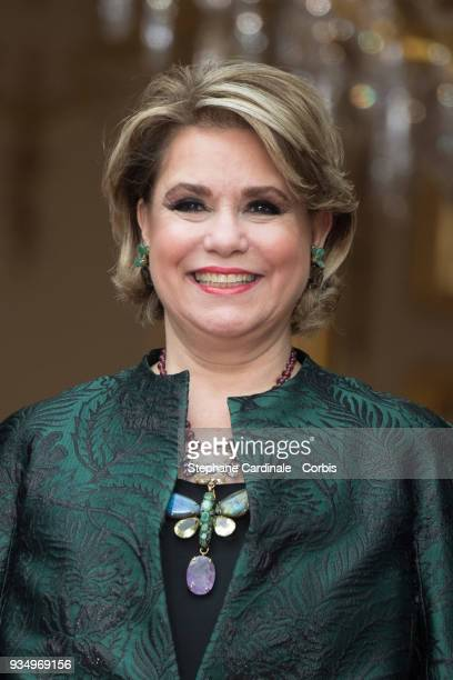GrandDuchess Maria Teresa of Luxembourg poses at the Hotel de Matignon on March 20 2018 in Paris France The Duke and Duchess of Luxembourg are on a...