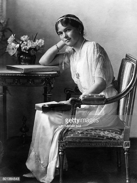 Grandduchess Olga Nikolaevna Romanova Eldest daughter of Tsar Nicholas II of Russia Portrait sitting at a desk in the 1910s
