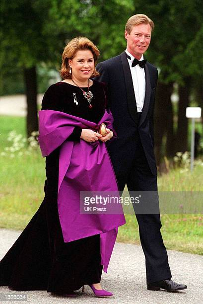 Grandduke Henri and Grandduchess MariaTeresa of Luxembourg pose for a photograph before attending an evening function as part of a two day of...