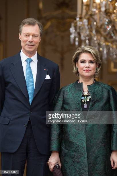 GrandDuke Henri of Luxembourg and GrandDuchess Maria Teresa of Luxembourg pose at the Hotel de Matignon on March 20 2018 in Paris France The Duke and...