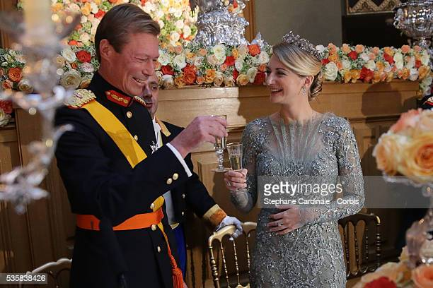 Grand-Duke Henri of Luxembourg and Princess Stephanie of Luxembourg attend the Gala dinner for the wedding of Prince Guillaume of Luxembourg and...
