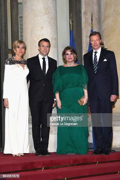 GrandDuke Henri of Luxembourg GrandDuchess Maria Teresa of Luxembourg French President Emmanuel Macron and Brigitte Macron attend a State dinner at...