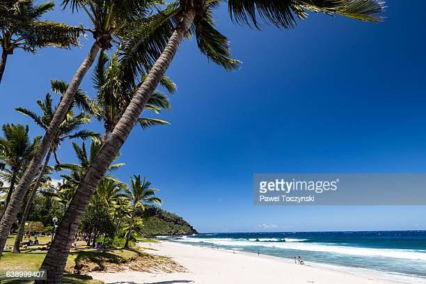 grande anse - popular tropical beach in réunion - isla reunion fotografías e imágenes de stock