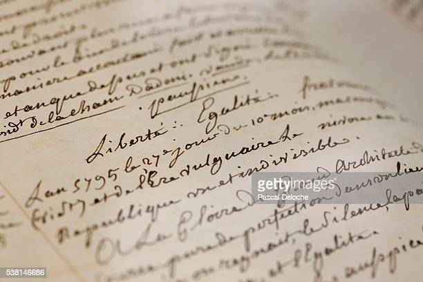 grande loge de france. masonic manuscript with written on it: liberty, equality, fraternity. - manuscript stock pictures, royalty-free photos & images