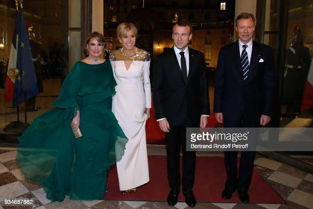 GrandeDuchesse Maria Teresa of Luxembourg Brigitte Macron French President Emmanuel Macron and LLAARR GrandDuc Henri of Luxembourg attend the State...