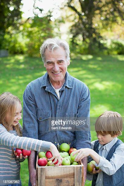 Grandfather and grandchildren with bushel of apples in orchard