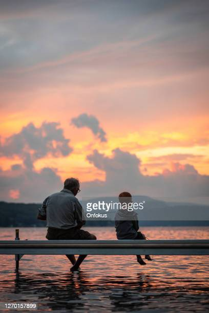 grandfather and grandson fishing in summer - grandfather stock pictures, royalty-free photos & images
