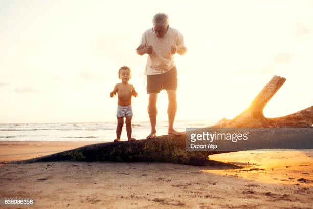 Grandfather and grandson in the beach