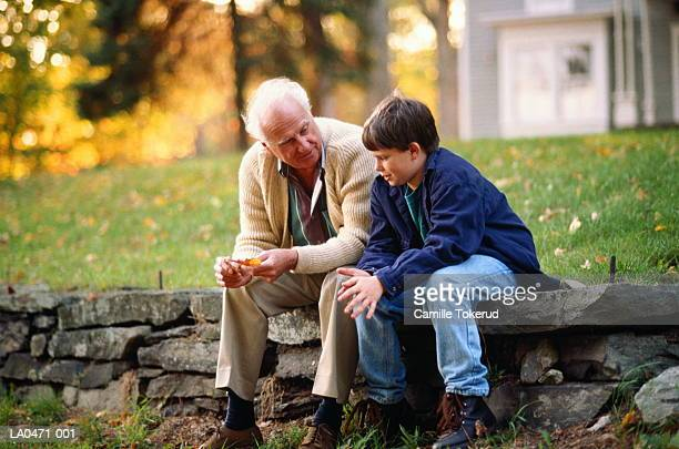 Grandfather and grandson (10-12) sitting on wall, talking